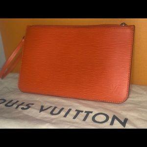 Authentic Louis Vuitton orange epi neverfull pouch